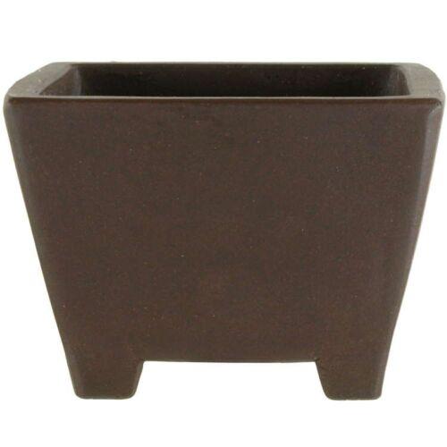 Pot à bonsaï 9.5x9.5x6.5cm travail manuel brun carrée en grès