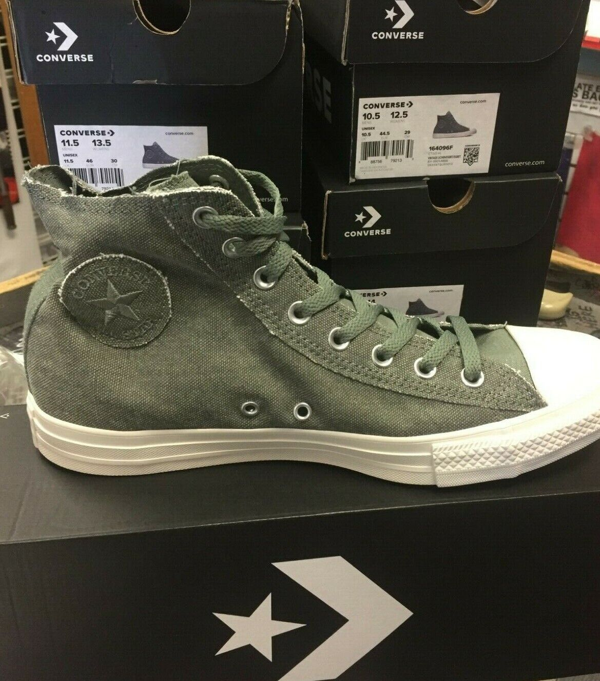 CONVERSE CHUCK TAYLOR ALL STAR HI VINTAGE LICHEN  GREY MENS 10