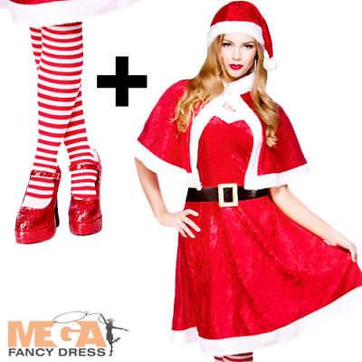 Ladies Mrs SANTA CLAUSE Christmas Xmas Adult Fancy Dress Costume Festive XM-4526