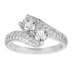 Image Is Loading 2ct Forever Us Two Stone Engagement Diamond Solitaire