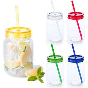 Transparente-Jarra-Mason-Vintage-Retro-Bebidas-Paja-De-Color-Tapa-Novedad-Fiesta