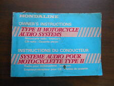 Hondaline Owner's Instructions Type ll Motorcycle Audio System