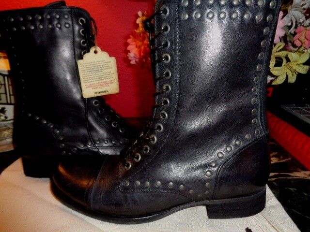 DIESEL AUTHENTIC WILD LAND ARTHIK BLACK LEATHER MILITARY COMBAT BOOTS 7M NEW
