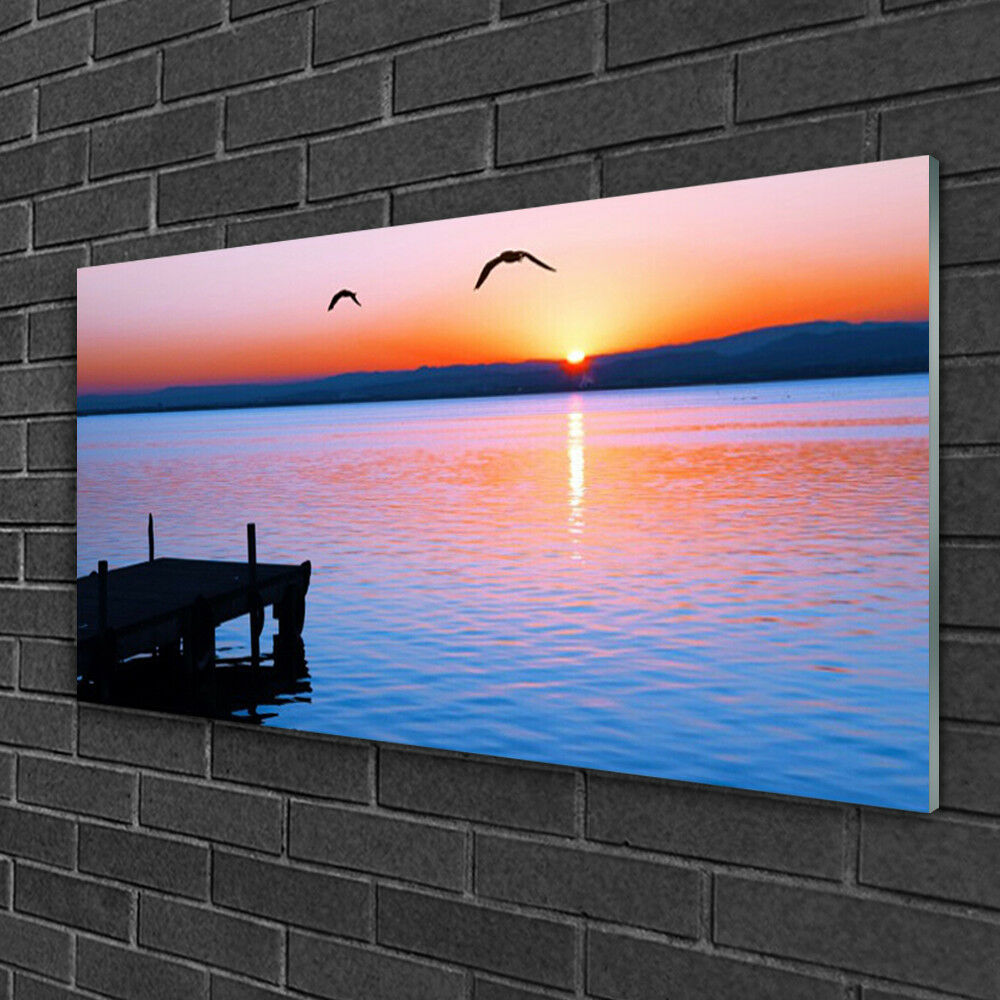 Acrylique Print Wall Art Image 100x50 Photo Mer Pont de Soleil Paysage