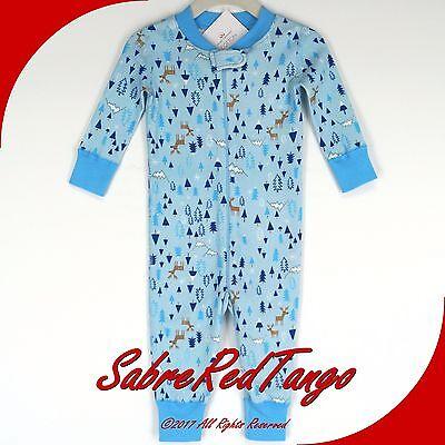 NWT HANNA ANDERSSON ORGANIC BABY SLEEPER ZIPPER DEER MOUNTAIN PRINT 90 3T 3