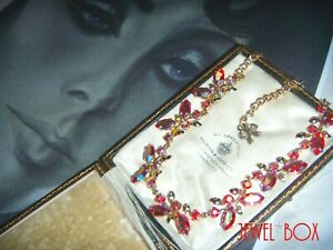 By EXQUISITE VINTAGE RARE FIERY RUBY AURORA BOREALIS CRYSTAL RHINESTONE NECKLACE