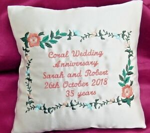 Image is loading personalised-Coral-35th-Wedding-Anniversary-gift -Embroidered-Satin- & personalised Coral / 35th Wedding Anniversary gift Embroidered Satin ...
