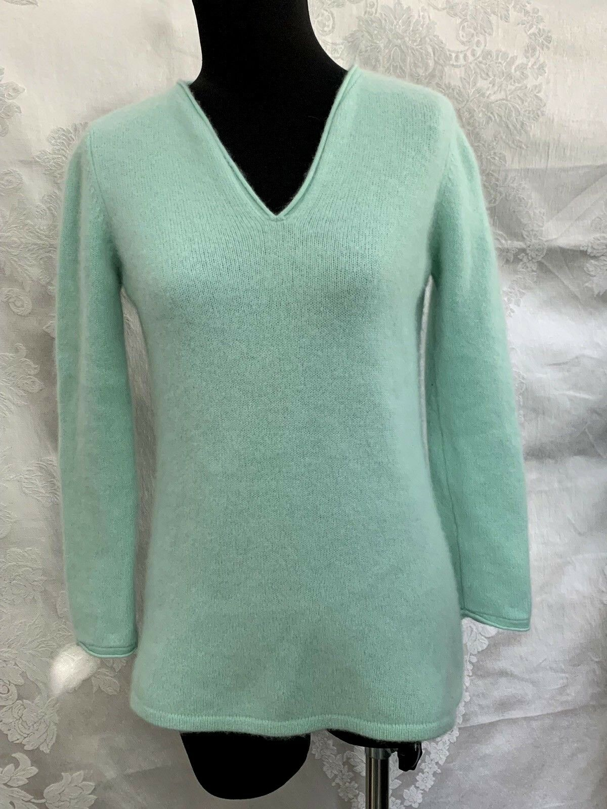 BLOOMINGDALE'S 100% cashmere sweater luxury luxury luxury soft SMALL SEAFOAM blueE GREEN FLUFFY bfe680