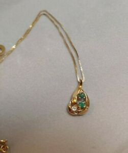 14Kt-Yellow-Gold-Emerald-And-Diamond-16x8-Teardrop-Pendant-14Kt-Box-Chain