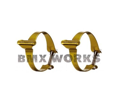 25.4mm 28.6mm or 31.8mm Sold in Pairs Genuine Dia-Compe Cable Clamps Gold
