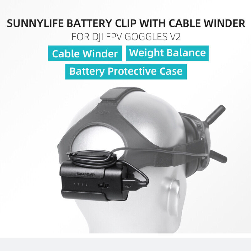 Battery Case Headband Battery Storage Case Clip Cable TidyFor DJI FPV Goggles V2