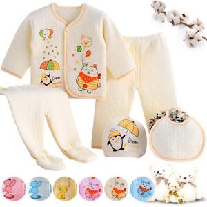32bec4c19f37 5Pcs Newborn Baby Boys Girls Clothes Sets Unisex Infant Outfits ...