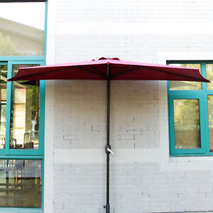 Image Is Loading 10 039 Ft Half Round Outdoor Patio Umbrella