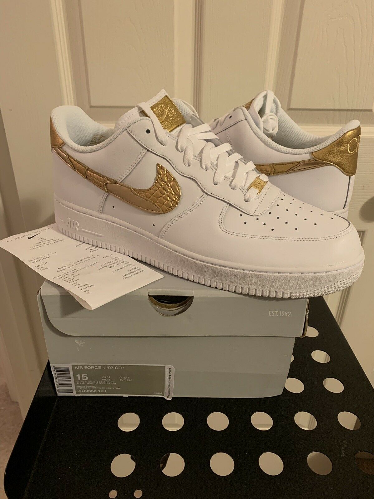 Nike Air Force 1 One Low CR7 gold Patchwork Cristiano Ronaldo Size 15 W Receipt