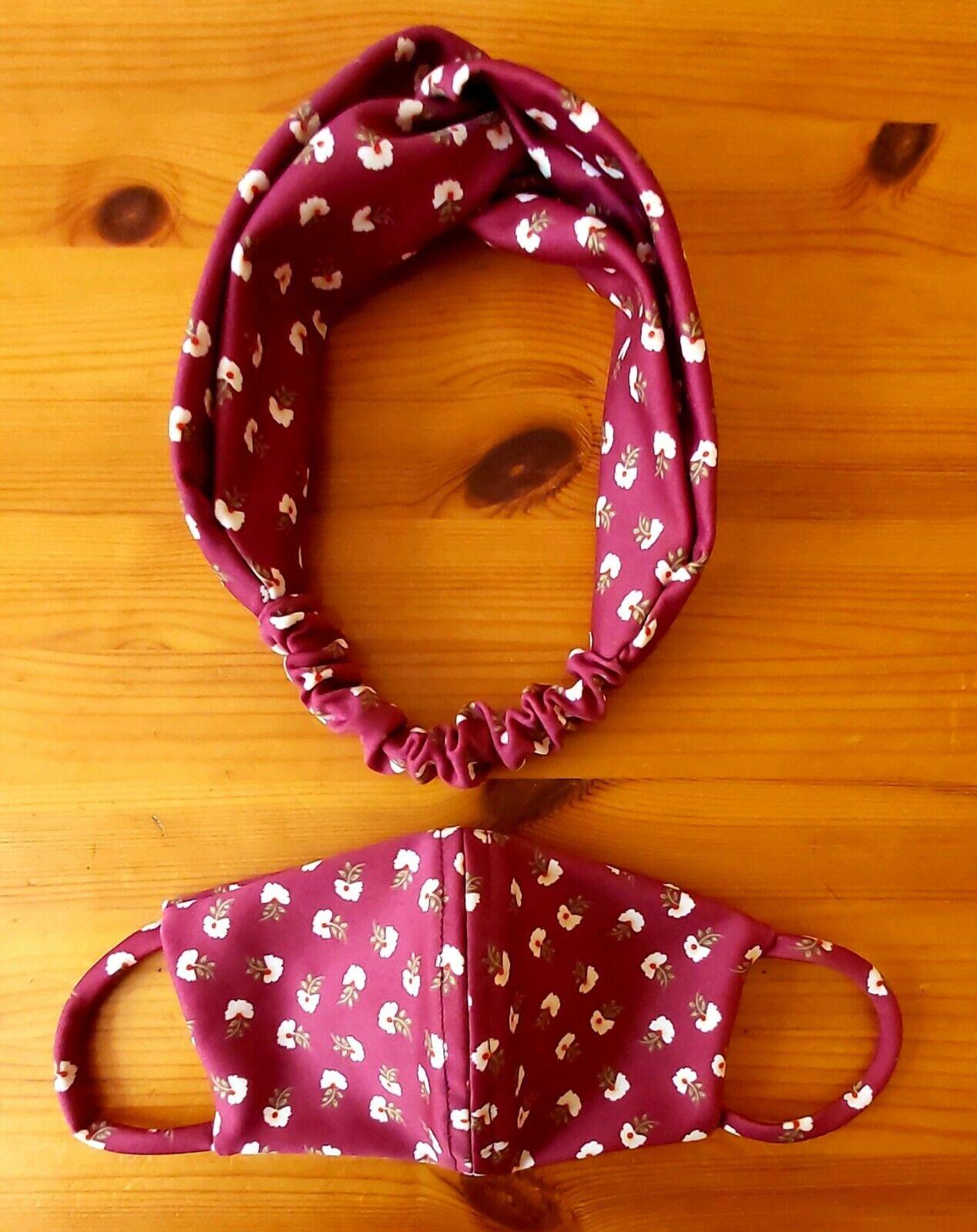 designers fashion headband with face mask set washable reusable inspired UK