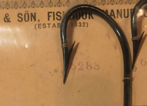 9 Flatted rare  A  Collectible Fishing Hooks Vintage 1800/'s Stamped W