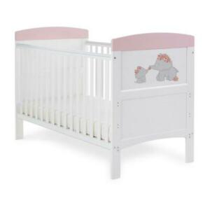 Obaby Grace Inspire Cot Bed (Me & Mini Me Elephants - Pink) - From Birth