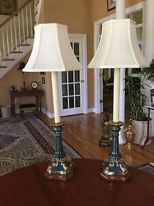Admirable Details About Vintage Wildwood Candlestick Buffet Lamps Pair Green Gold Dolphin Elegant Home Interior And Landscaping Elinuenasavecom