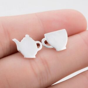 Tea-Cup-And-Tea-Pot-Stud-Earrings-Teacup-In-Silver-Gold-Or-Rose-Gold-Plate-10mm