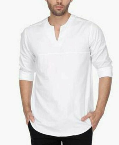 Details about  /Men/'s Indian Buttons Shirt Kurta Solid Tunic 100/% Cotton Large Tall New Dress