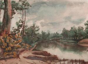 IMPRESSIONIST-RIVER-LANDSCAPE-Antique-Watercolour-Painting-c1930