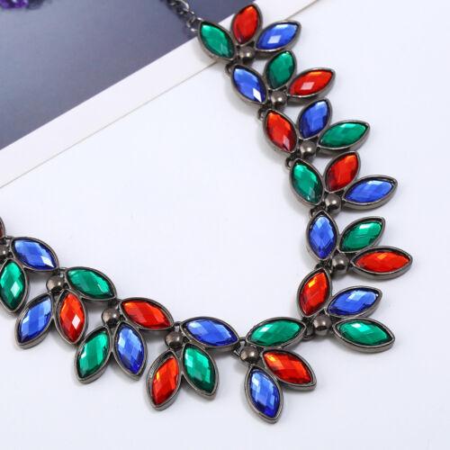 Fashion Charm Jewelry Crystal Choker Chunky Statement Bib Pendant Necklace Chain