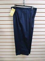 Qvc Dialogue Cotton Sateen Stretch Crop Pants Navy Blue Size 22w -