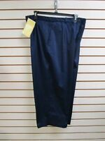 Qvc Dialogue Cotton Sateen Stretch Crop Pants Navy Blue Size 22w -
