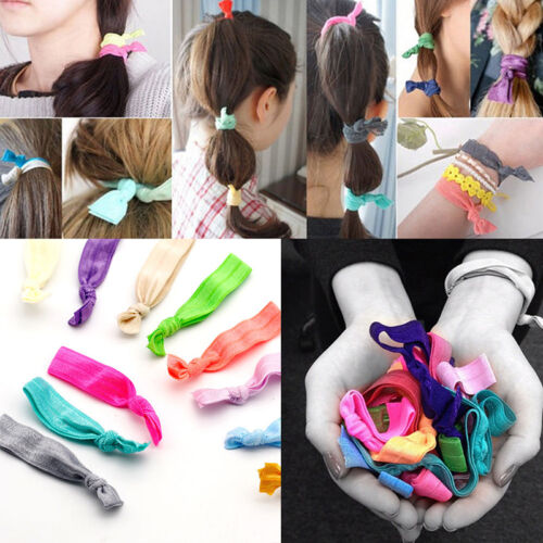 Colorful Knotted Ribbon Elastic Hair Tie Hairband Ponytail Holder Bracelet Gift
