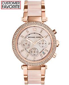 New-Michael-Kors-Parker-Rose-Gold-Blush-MK5896-Watch-for-Women-Blush-Crystal-Set