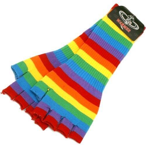 Rainbow Color Gay LGBT Pride Fingerless Cutoff Gloves Arm Warmer Punk  BT-1014