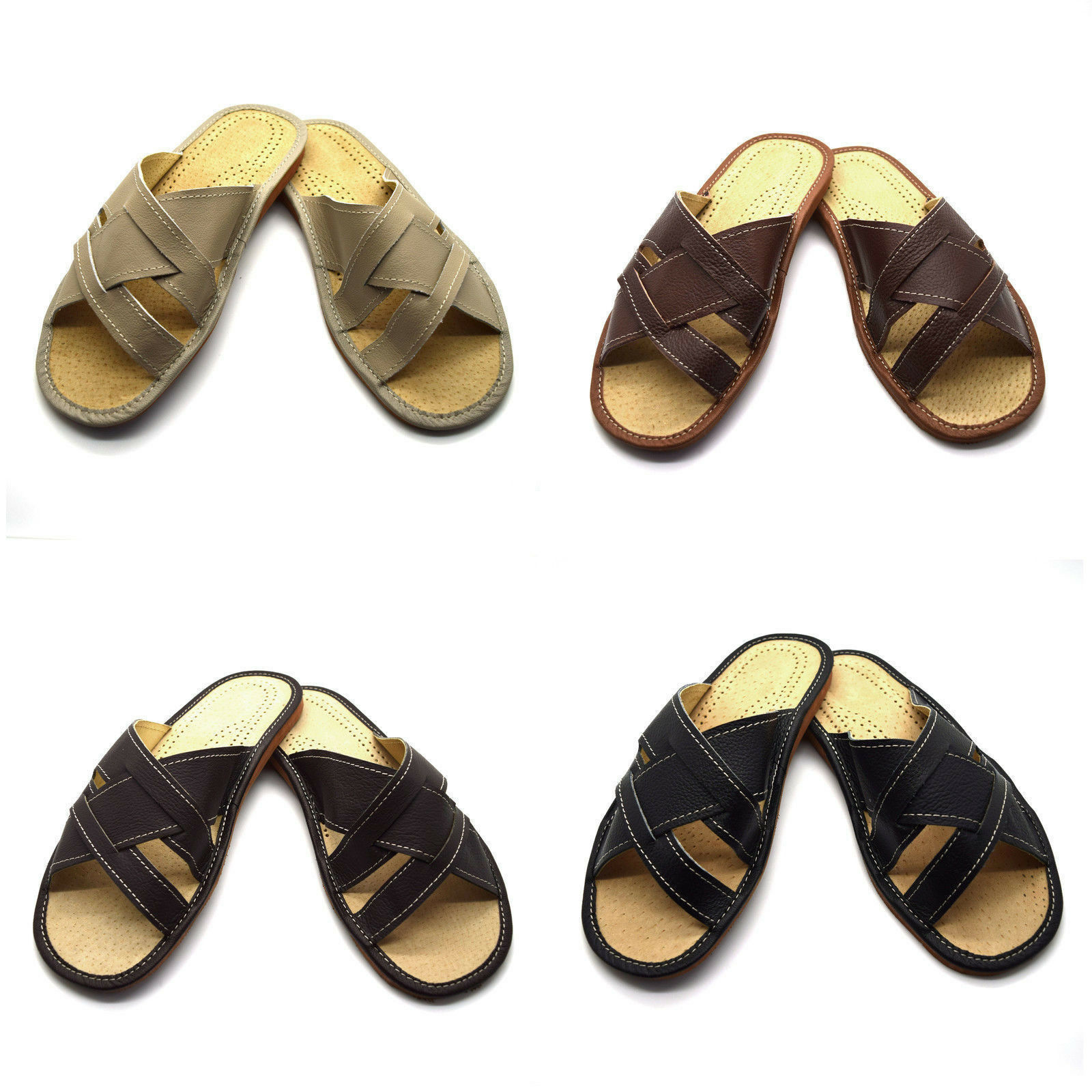 Uomo Gents 100% in Pelle Pantofole Scarpe Sandali INFRAD Brown 6 7 8 9 10 11 12