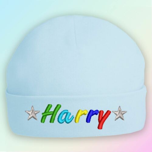 Name Stars Embroidered Baby Beanie Hat Gift Personalised