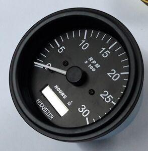 12V r Tachometer//Hourmeter 0-4000 RPM Magnetic pickup Sensor Driven Black Bezel