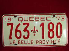 """VINTAGE 1973 QUEBEC Auto License Plate """"763 180"""" La Belle Province Acanthus Leaf"""