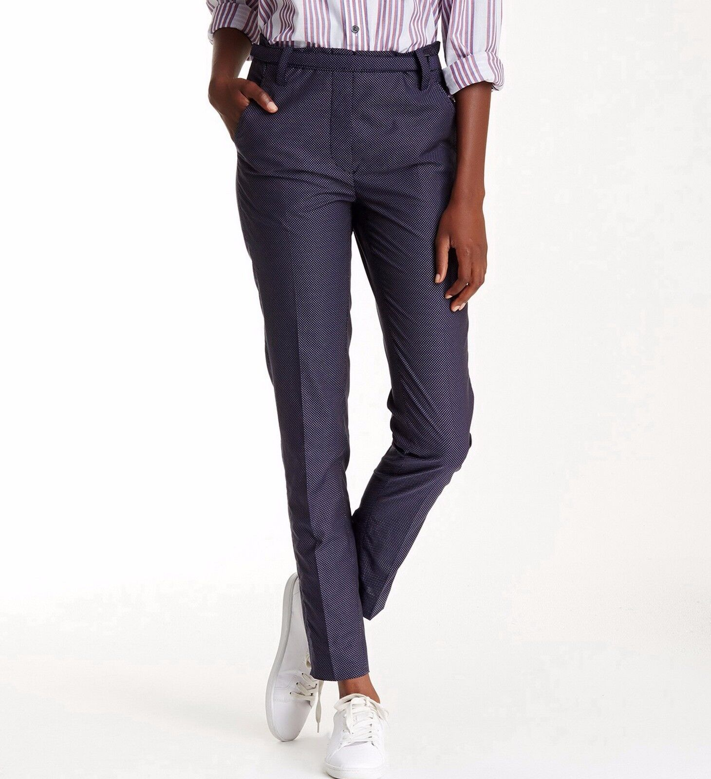 NWT Equipment Carla Dotted Slim Pants, Navy w White Dot, size 2,  198