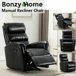 Details about Manual Glider Rocker Recliner Chair Breathable Leather Sofa Padded Headrest Seat