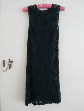 See Through Stretchy Floral Lace Navy Blue Dress in Size Small / 6