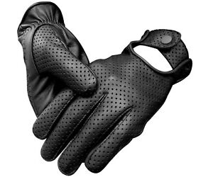 REAL-LAMBSKIN-SHEEP-MESH-LEATHER-DRIVING-POLICE-FASHION-DRESS-MEN-039-S-GLOVES-BLACK