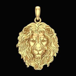 Men's Classic 18K Gold Lion Pendant Necklace Hip Hop Punk Nordic Lion Jewelry