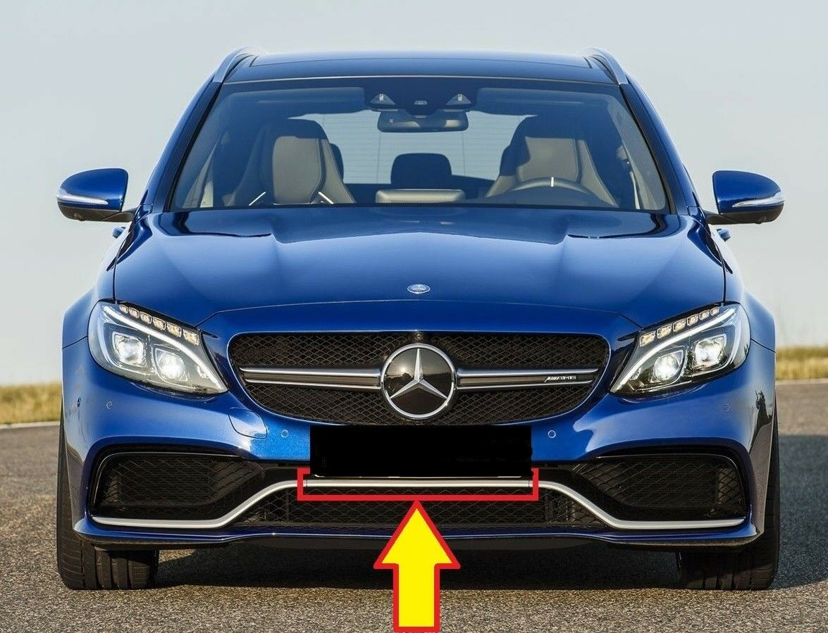 Neu Original Mercedes-Benz W205 AMG Vorne Stoßstange  Chrom Zierleiste  exclusive