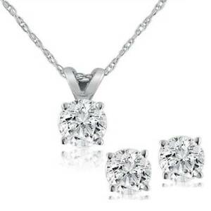 Diamond-Solitaire-Necklace-amp-Studs-Earrings-Set-3-4-Carat-tw-14K-White-Gold