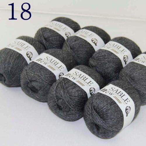Venta 8 Madejas Súper Puro Sable Cashmere Bufandas Hand Knit Wool hilo de ganchillo 18