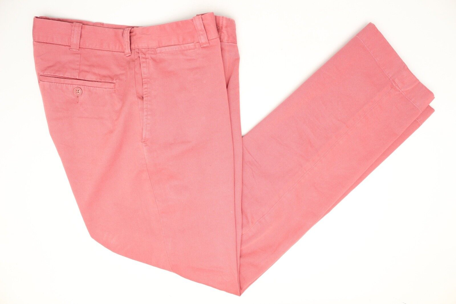 """J Crew Mens Pants 32x32 (34"""") Sun Faded Red Classic Flat Front Cotton Trousers"""