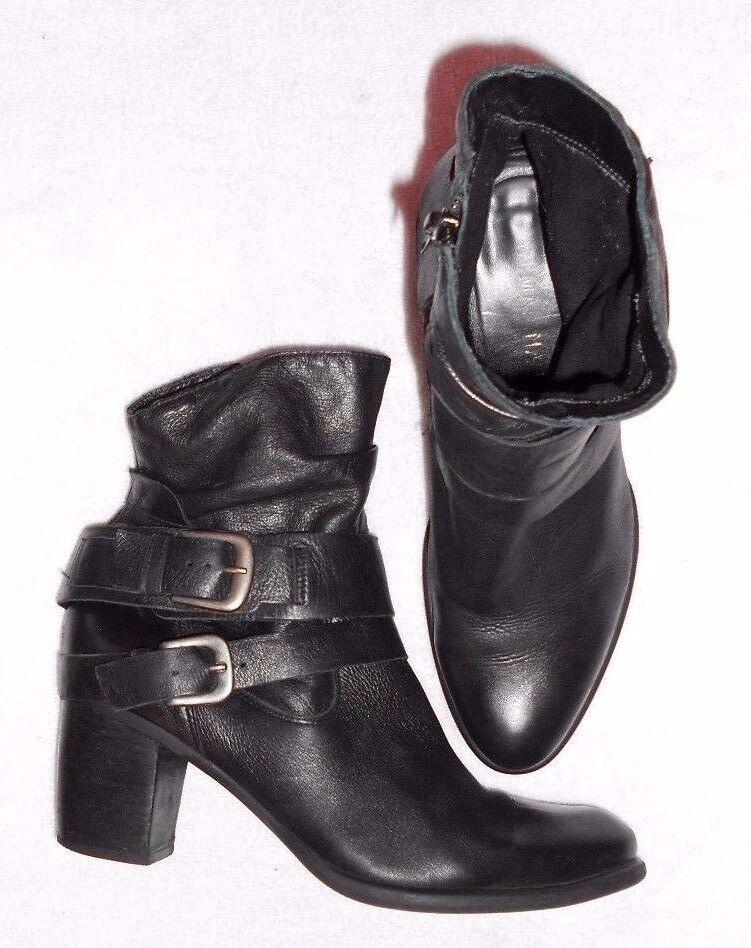 SAN MARINA bottines  zippées cuir noir déco boucles P 41 TBE