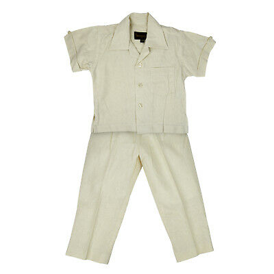 Toddler Ivory 100/% Linen Set Embroidered Shirt with Pant Sizes 2T 3T /& 4T