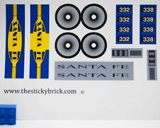 Custom Santa Fe Blue stickers LEGO 10020 Train Engine Decals BNSF