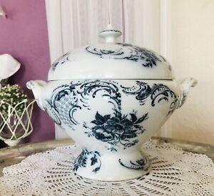Villeroy-amp-Boch-Wallerfangen-Jenny-Jugendstil-Keramik-Suppen-Terrine-weiss-blau