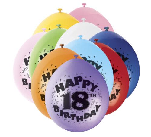 """18th Joyeux Anniversaire Imprimé Ballons 12/"""" célébrer la Fête D/'Anniversaire Pack de 12"""