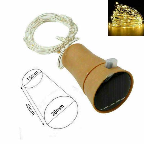 5 tlg 20LED Solar Flaschenlicht Lichterkette Draht Beleuchtung Nachlicht Korken